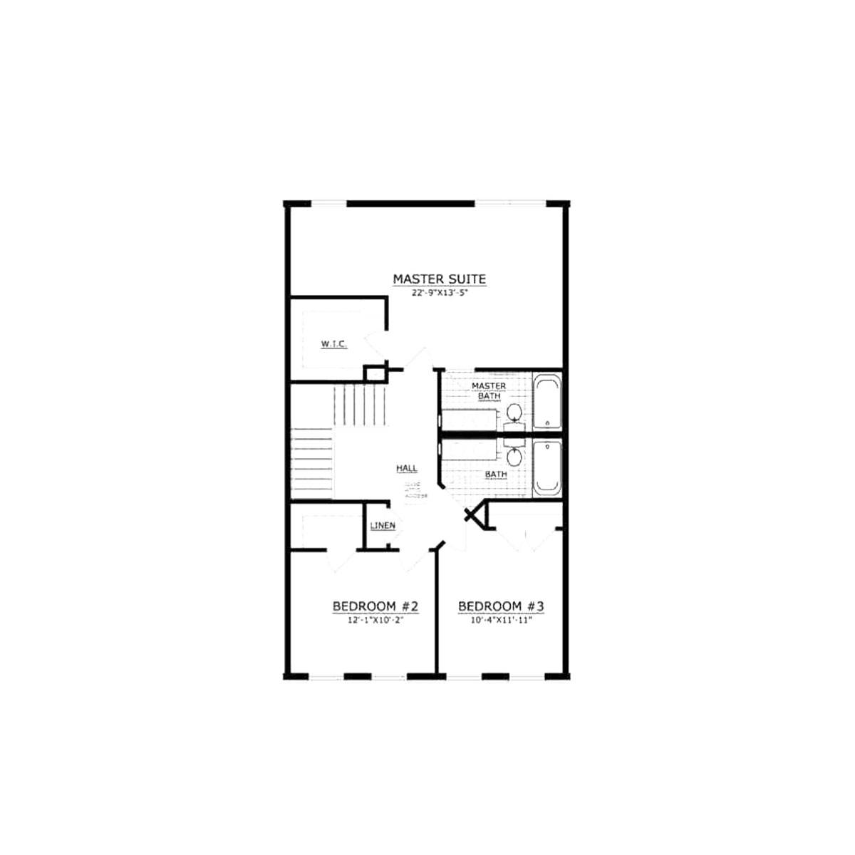 Floor plan for 3 bedroom rental townhome at St. Andrews